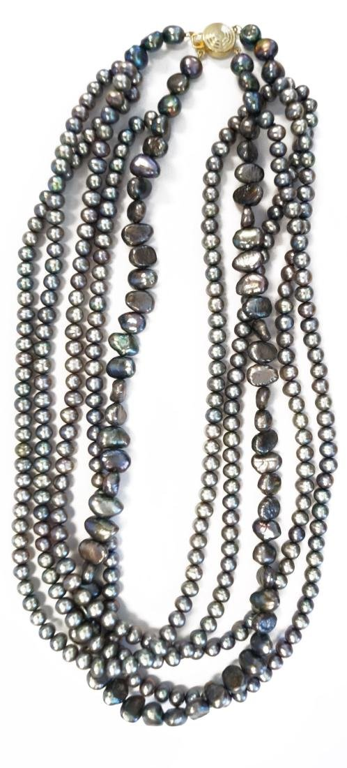MULTI-STRAND BLACK CULTURED/ KESHI PEARL NECKLACE WITH