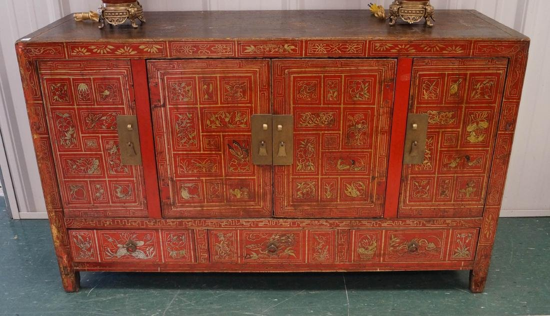 CHINESE LACQUERED AND GILT DECORATED CABINET, CHING.