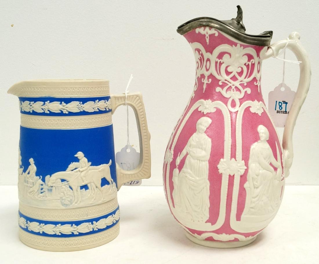 LOT (2) ENGLISH PARIAN PITCHERS, 19TH CENTURY INCLUDING