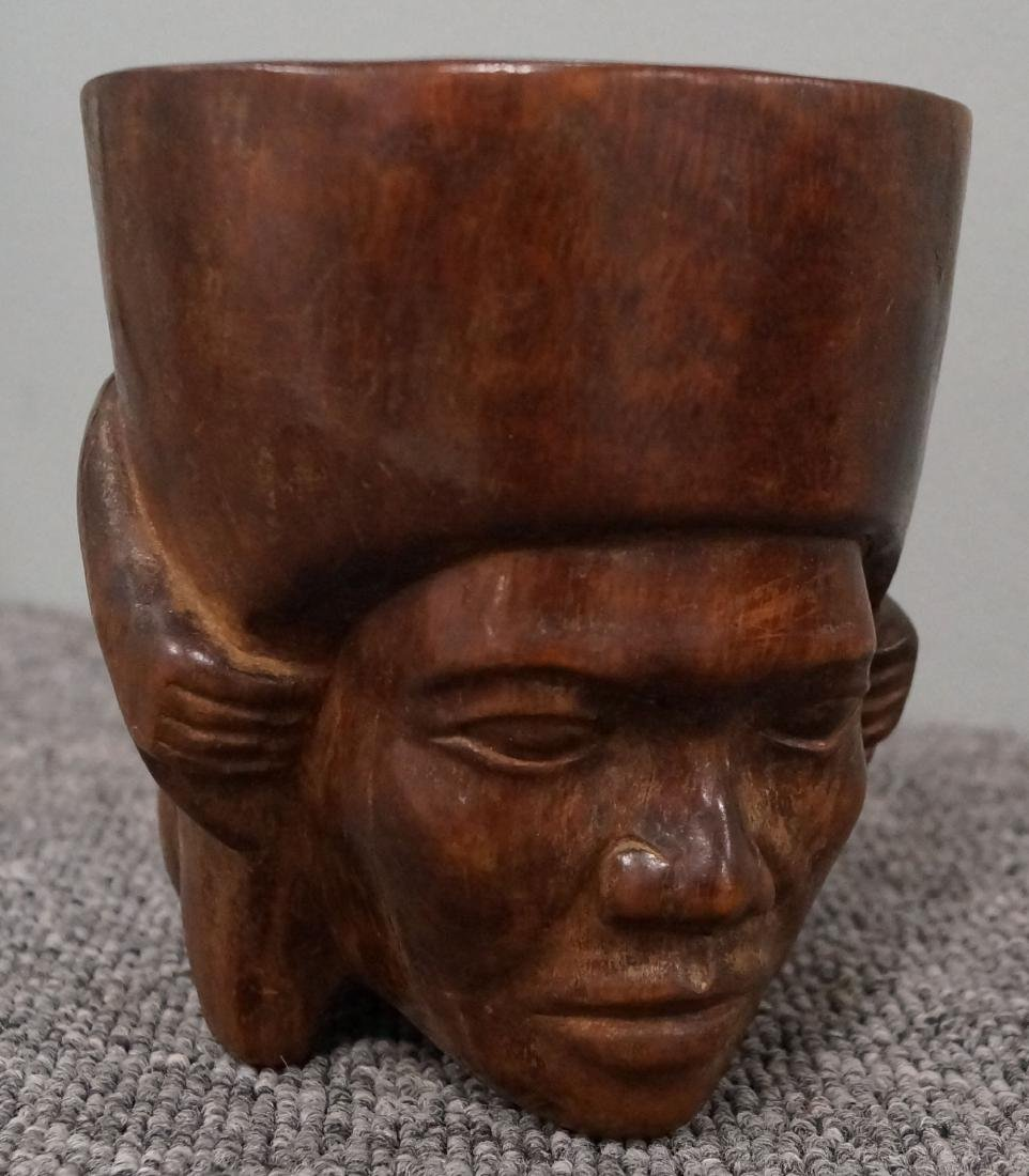 MESO-AMERICAN SPANISH COLONIAL CARVED HARDWOOD PORTRAIT - 2