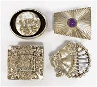 LOT (4) STERLING BELT BUCKLES, 1/SIGNED RETROTECH. TWT