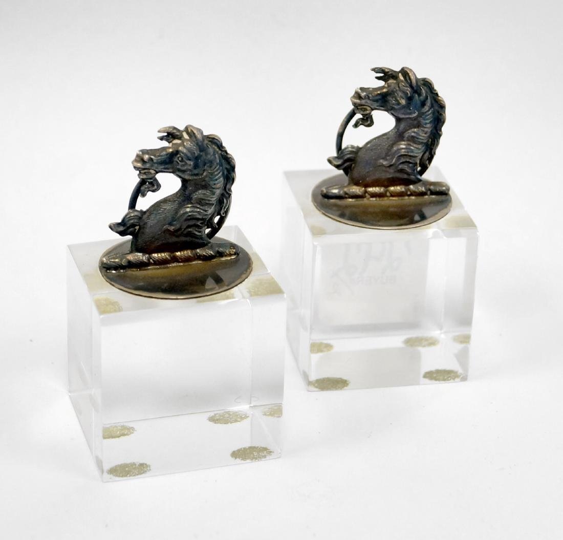 PAIR LONDON STERLING PLACE CARD HOLDERS ON LUCITE BASE.