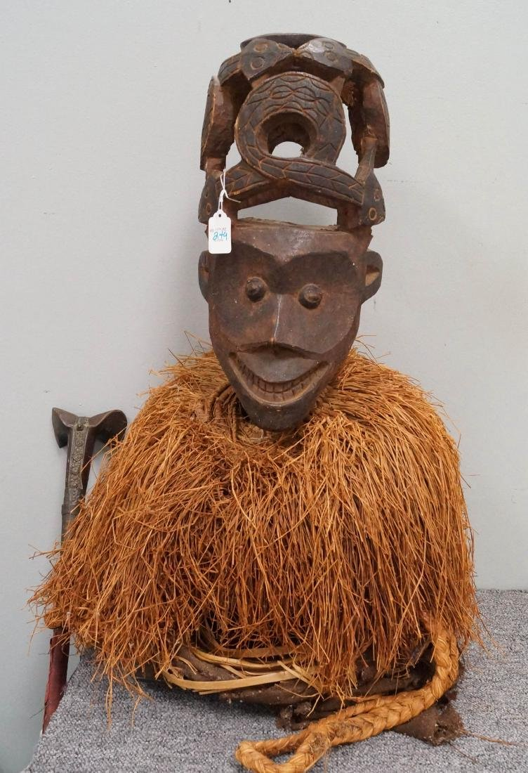 AFRICAN CARVED HEADDRESS WITH COILED SNAKE CREST AND