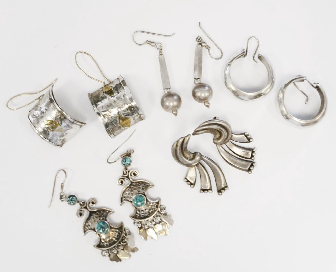 LOT (5) PAIR SILVER PIERCED EARRINGS INCLUDING MEXICAN.