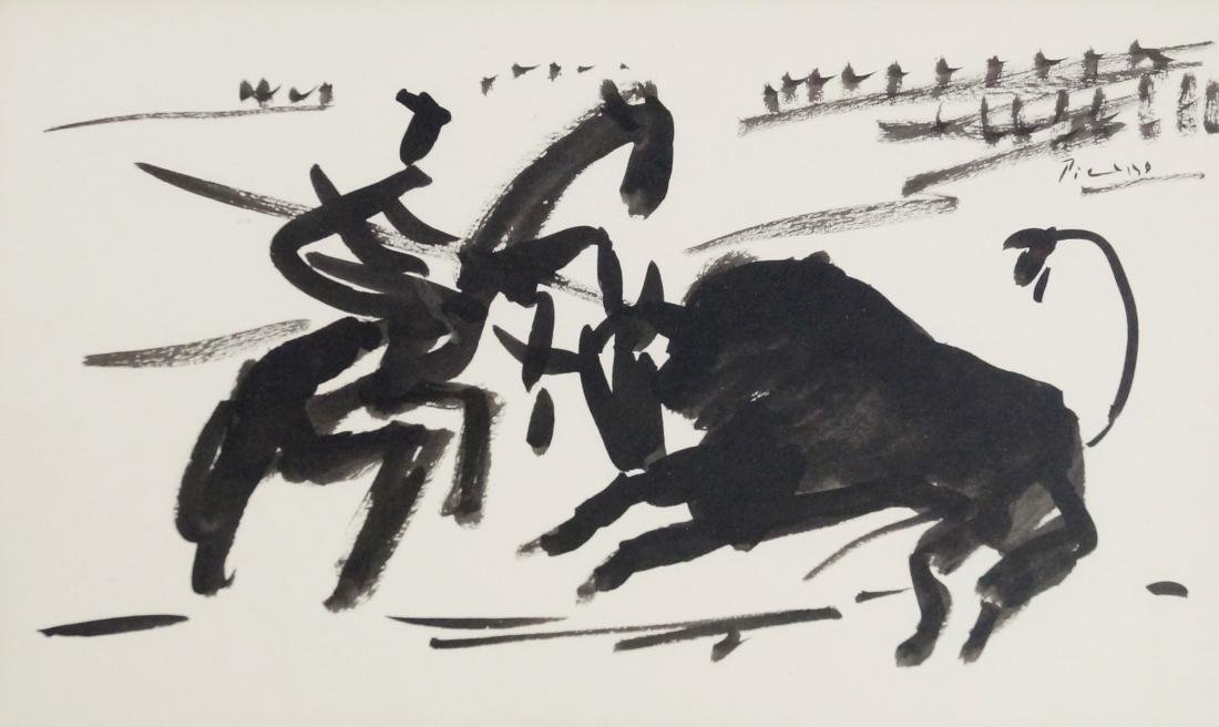 AFTER PICASSO, INK ON PAPER, BULL FIGHT, SIGNED. SHEET