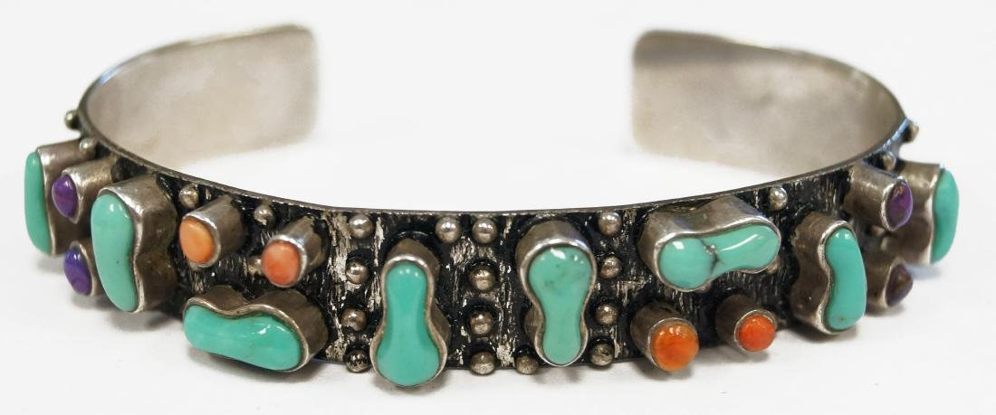 SOUTHWEST AMERICAN INDIAN 925 SILVER CUFF BRACELET WITH
