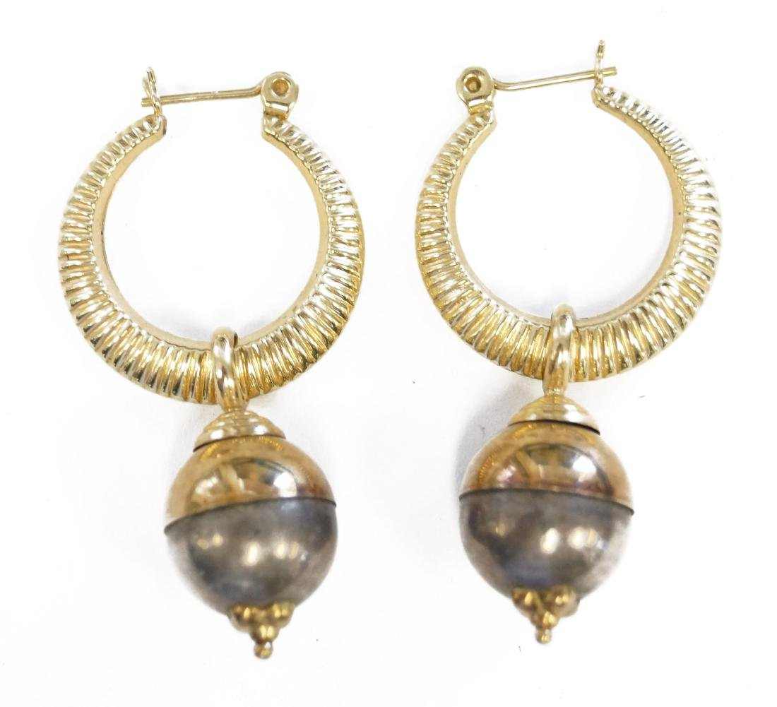 PAIR 14K YELLOW GOLD PIERCED HOOP EARRING WITH