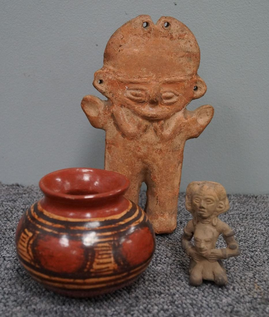 LOT (3) PRE-COLUMBIAN POTTERY INCLUDING CHANCAY FIGURE,