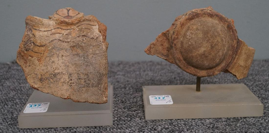LOT (2) ETRUSCAN PAINTED TERRA COTTA FRAGMENTS, C. 700