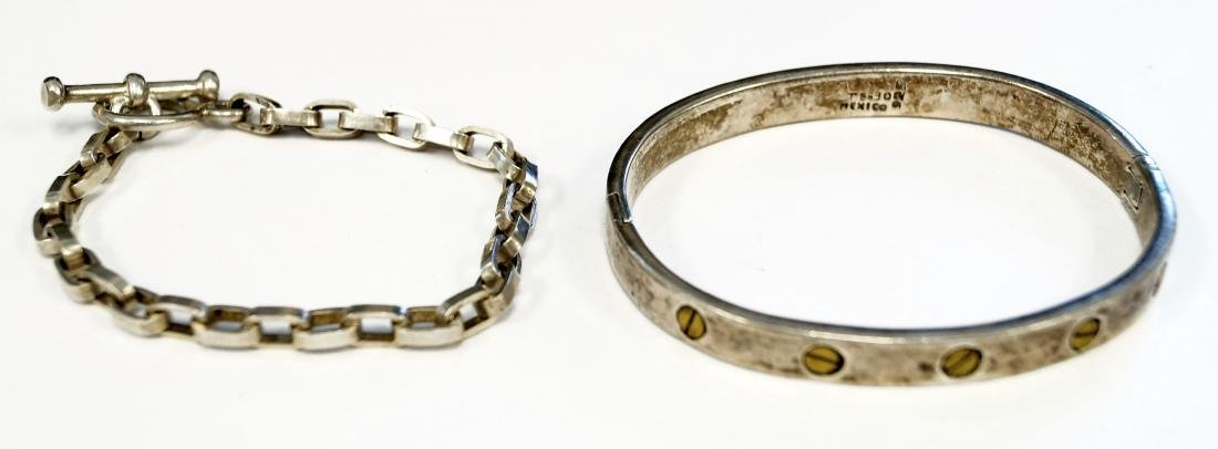 LOT (2) SILVER BRACELETS INCLUDING MEXICAN STERLING