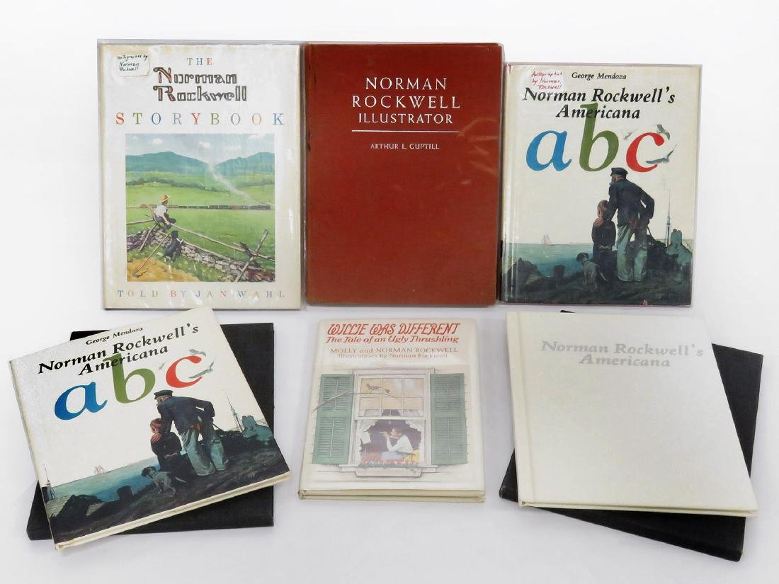 LOT (6) NORMAN ROCKWELL AUTOGRAPHED VOLUMES INCLUDING