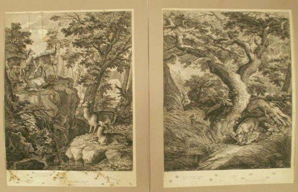 1: LOT (2) WILDLIFE ENGRAVINGS, JOHANN RIDINGER