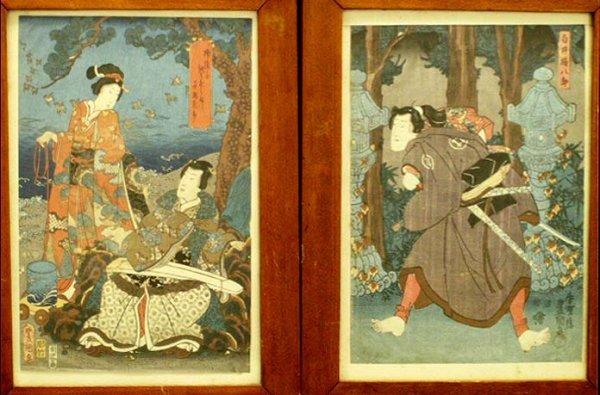 8: LOT (2) JAPANESE WOODBLOCK PRINTS, TOYOKUNI