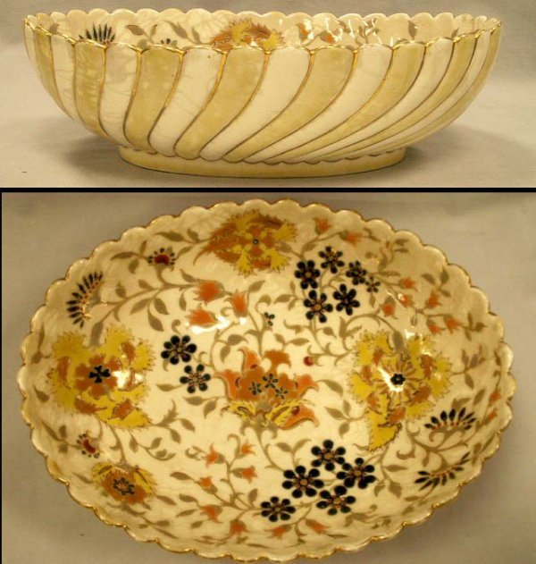 10: ZOLNAY POTTERY DECORATED OVAL BOWL