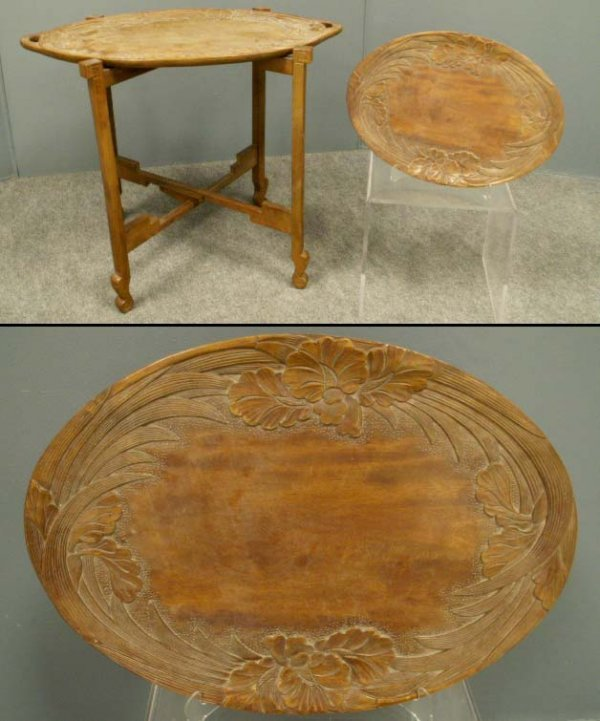 15: JAPANESE ART NOUVEAU STYLE CARVED WOOD TRAYS