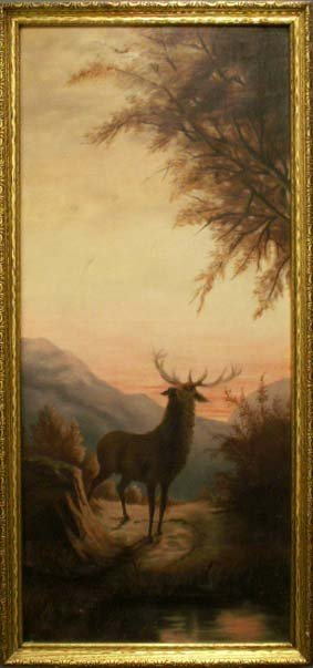 19: OIL ON CANVAS, STAG IN MOUNTAIN LANDSCAPE