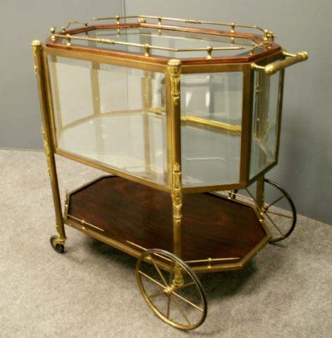 59: FRENCH STYLE BRASS/BEVELED GLASS BAR CART
