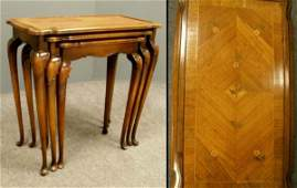 183 SET 3 QUEEN ANNE STYLE WALNUT NESTING TABLES
