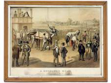 CURRIER  IVES COLORED LITHOGRAPH A DISPUTED HEAT