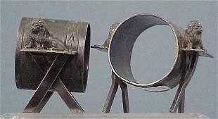 2 VICTORIAN SILVERPLATE NAPKIN RINGS