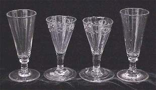 LOT (4) ALE/ETCHED WINE GLASSES