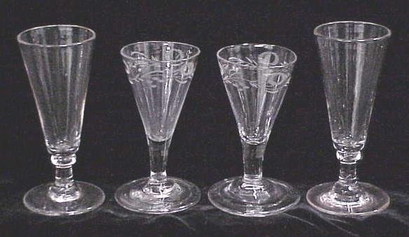 2005: LOT (4) ALE/ETCHED WINE GLASSES