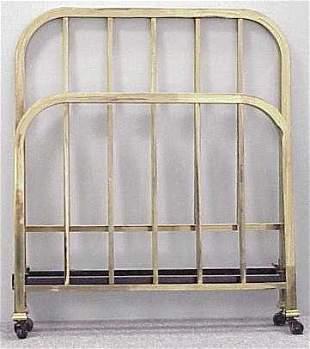 PAIR ART DECO BRASS SINGLE BEDS, C.1930