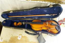 MINIATURE VIOLIN, BOW AND HARD CASE