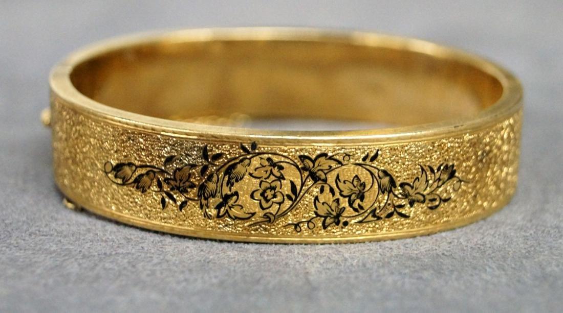 VICTORIAN GOLD FILLED ENAMEL HINGED BANGLE, MONOGRAMMED