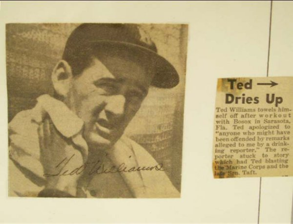 1003: TED WILLIAMS AUTOGRAPHED NEWSPAPER PHOTO, C.1960'