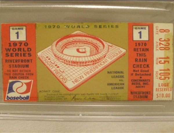 1010: 1970 WORLD SERIES TICKET (GAME 1) REDS/ORIOLES