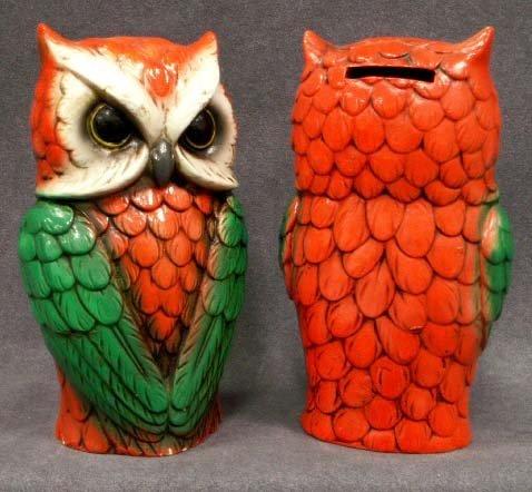 1018: LOT (2) VINTAGE HALLOWEEN COMPOSITION OWL BANKS