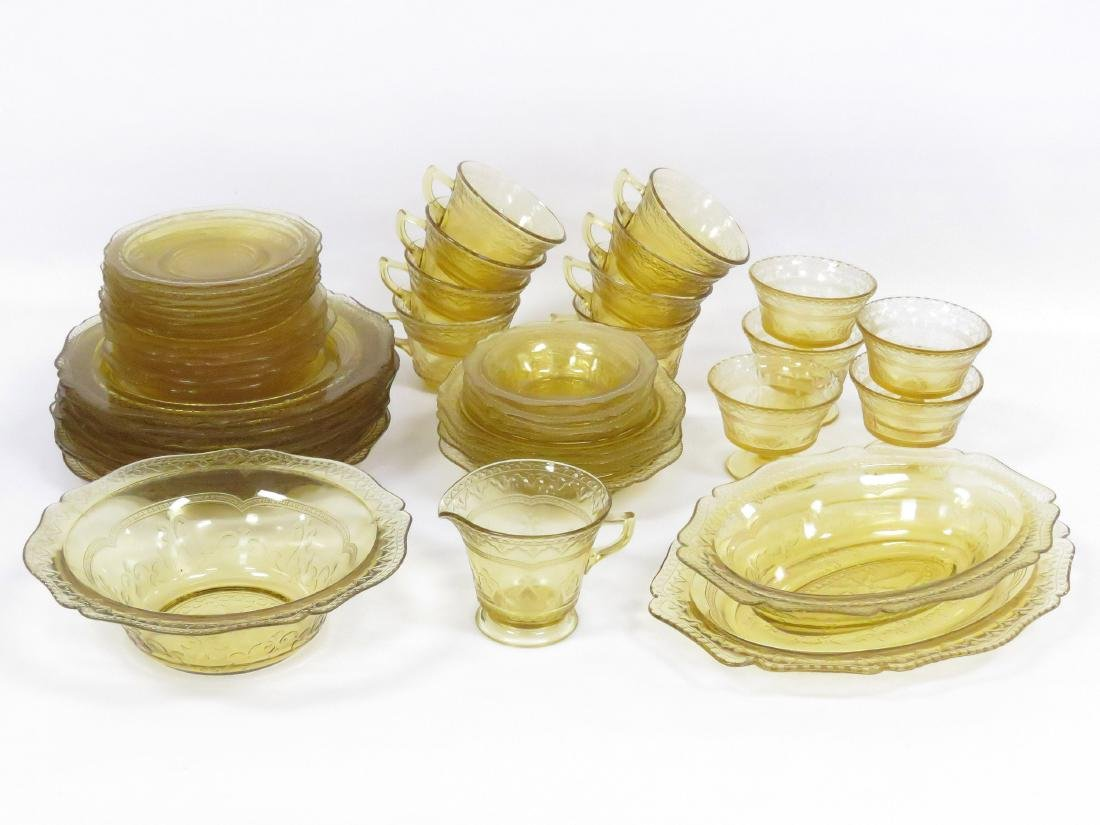 PARTIAL SERVICE YELLOW DEPRESSION GLASS DINNER WARE