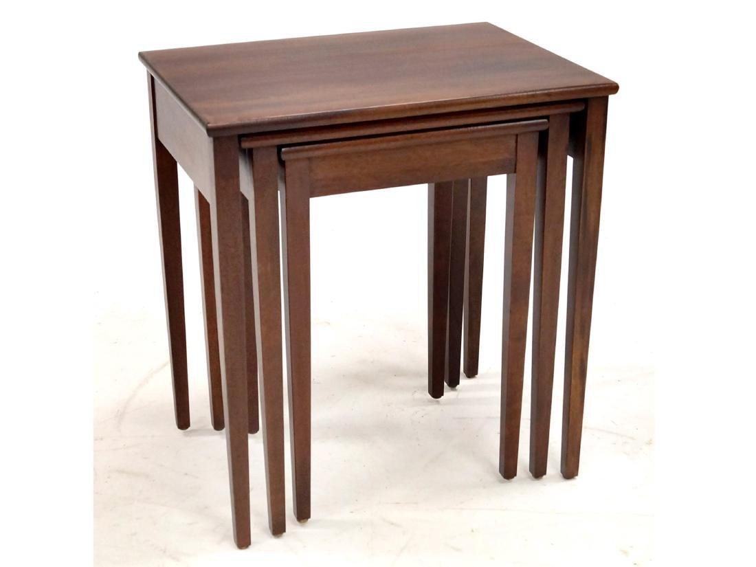 SET (3) HEPPLEWHITE STYLE CARVED WALNUT NESTING TABLES.