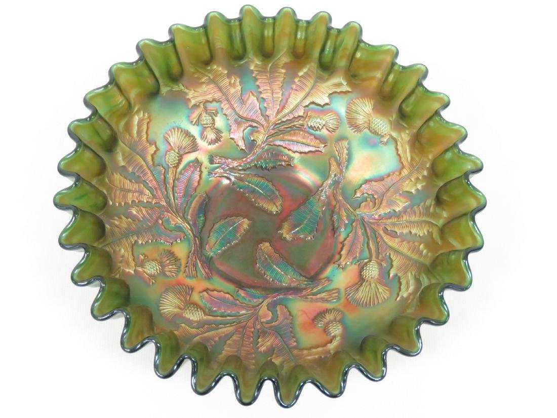 VINTAGE THISTLE (FENTON) GREEN FLUTED CARNIVAL GLASS - 2