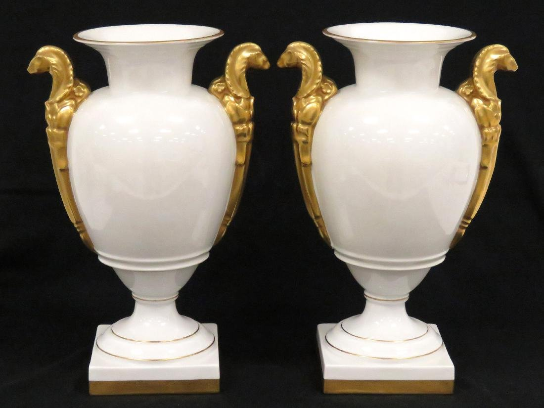 PAIR FRENCH EMPIRE STYLE GILT DECORATED PORCELAIN URNS,