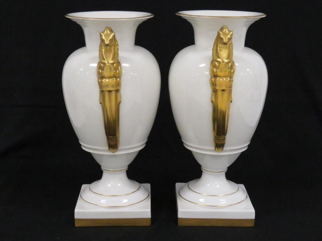 PAIR FRENCH EMPIRE STYLE GILT DECORATED PORCELAIN URNS, - 2