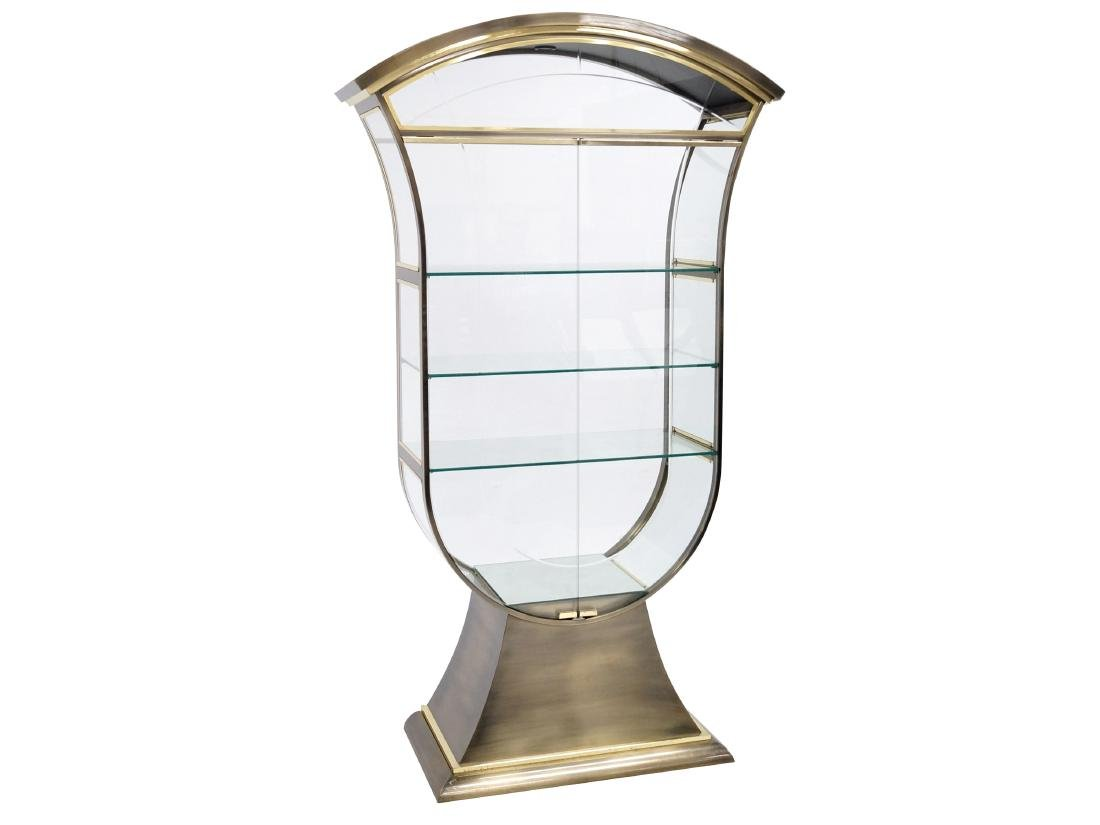 ART DECO STYLE BRASS DISPLAY CABINET, POSSIBLY