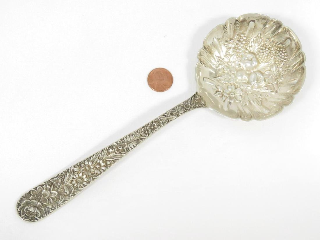S. KIRK & SON STERLING REPOUSSE HANDLE BERRY SPOON.