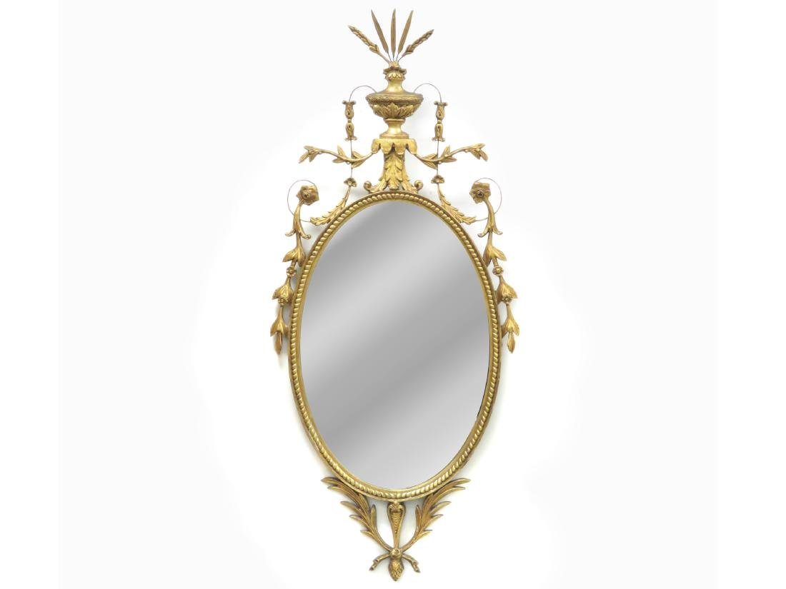 """FEDERAL STYLE CARVED AND GILT FRAMED MIRROR. HEIGHT 58"""";"""