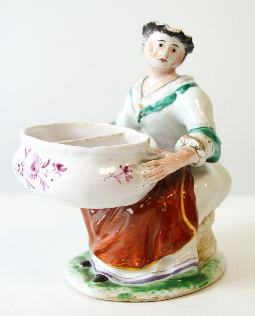 DUTCH FAIENCE FIGURAL SALT, 18/19TH CENTURY. HEIGHT 5 - 2