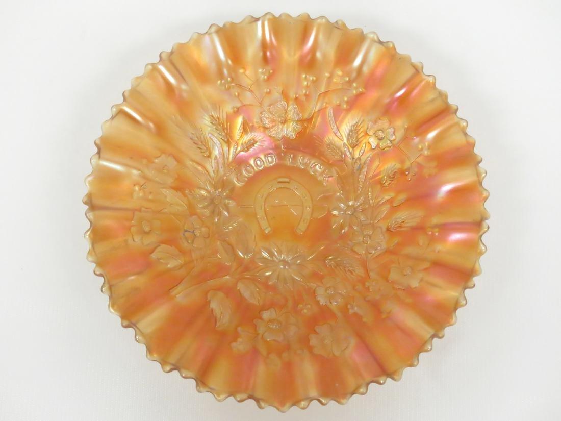 VINTAGE GOOD LUCK (NORTHWOOD) MARIGOLD CARNIVAL GLASS