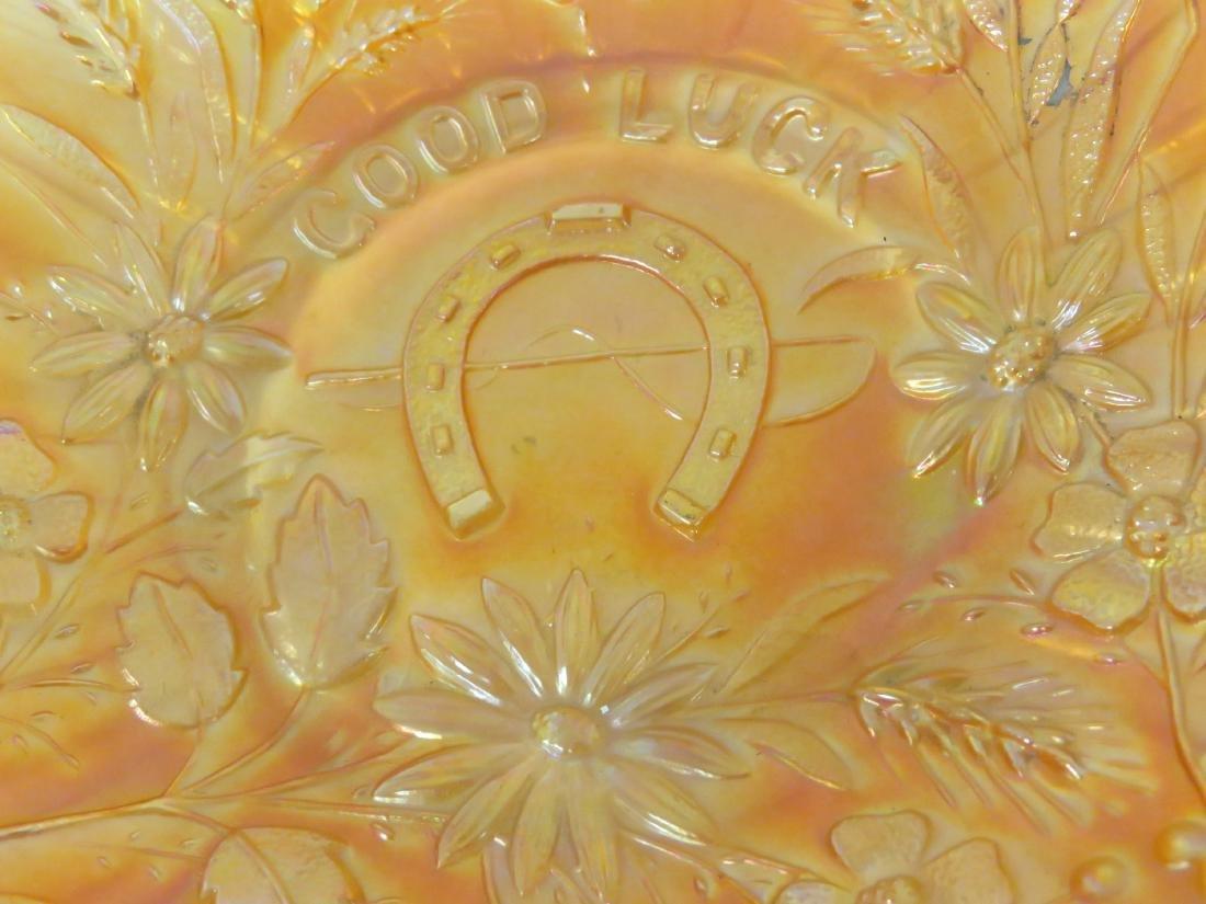 VINTAGE GOOD LUCK (NORTHWOOD) MARIGOLD CARNIVAL GLASS - 2