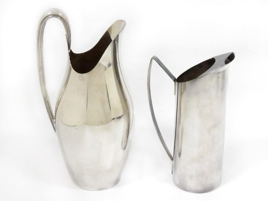 LOT (2) MID-CENTURY DESIGN SILVER PLATE PITCHERS