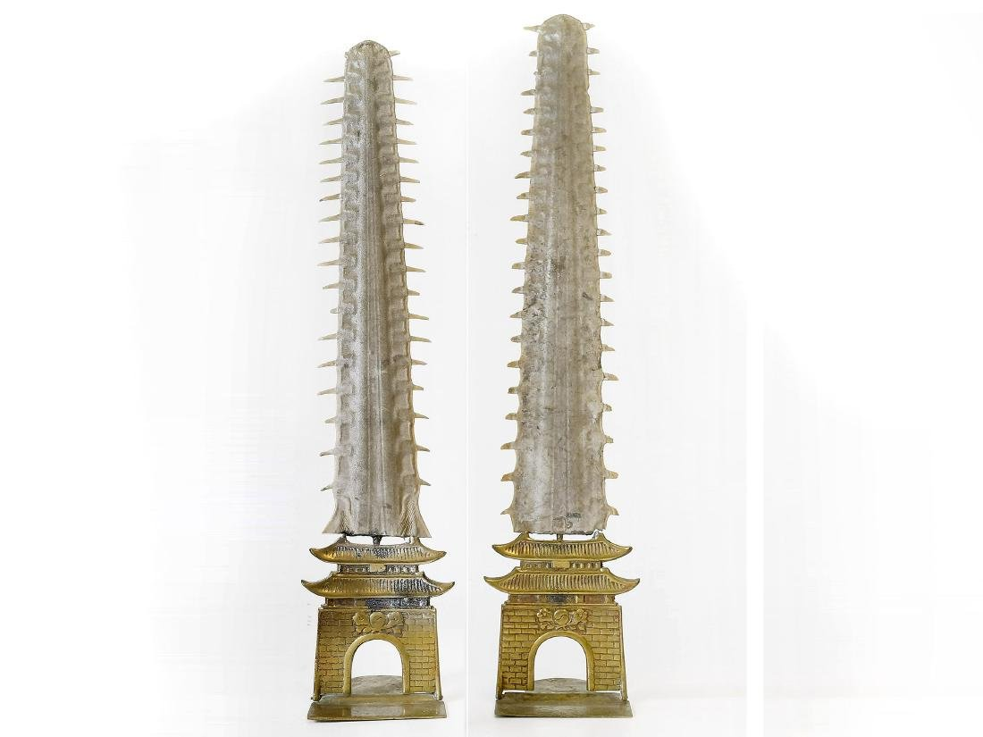 PAIR SAWFISH ROSTRUM MOUNTED ON CHINESE PAGODA
