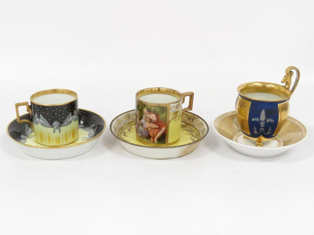 LOT (3) ROYAL VIENNA PORCELAIN DECORATED CUPS AND