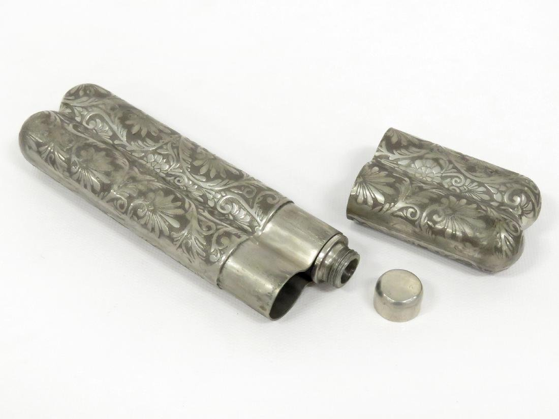 VICTORIAN SILVER PLATE DOUBLE CIGAR HOLDER AND WHISKEY