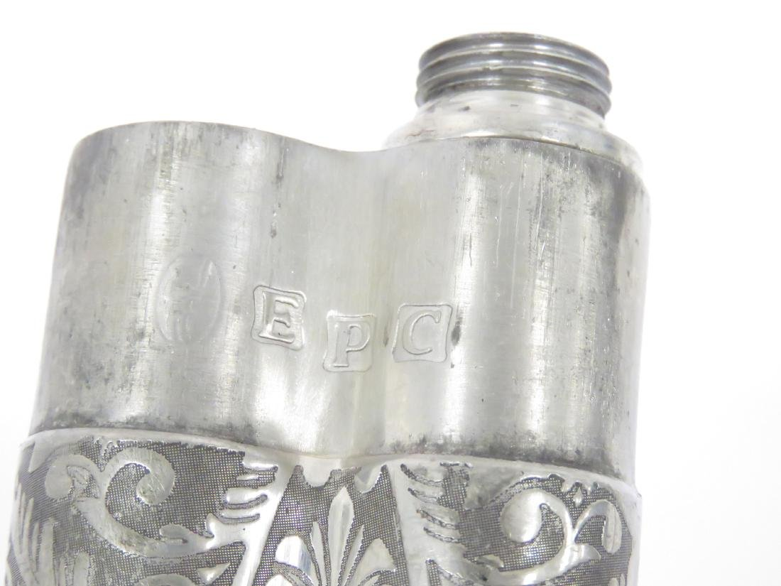 VICTORIAN SILVER PLATE DOUBLE CIGAR HOLDER AND WHISKEY - 3