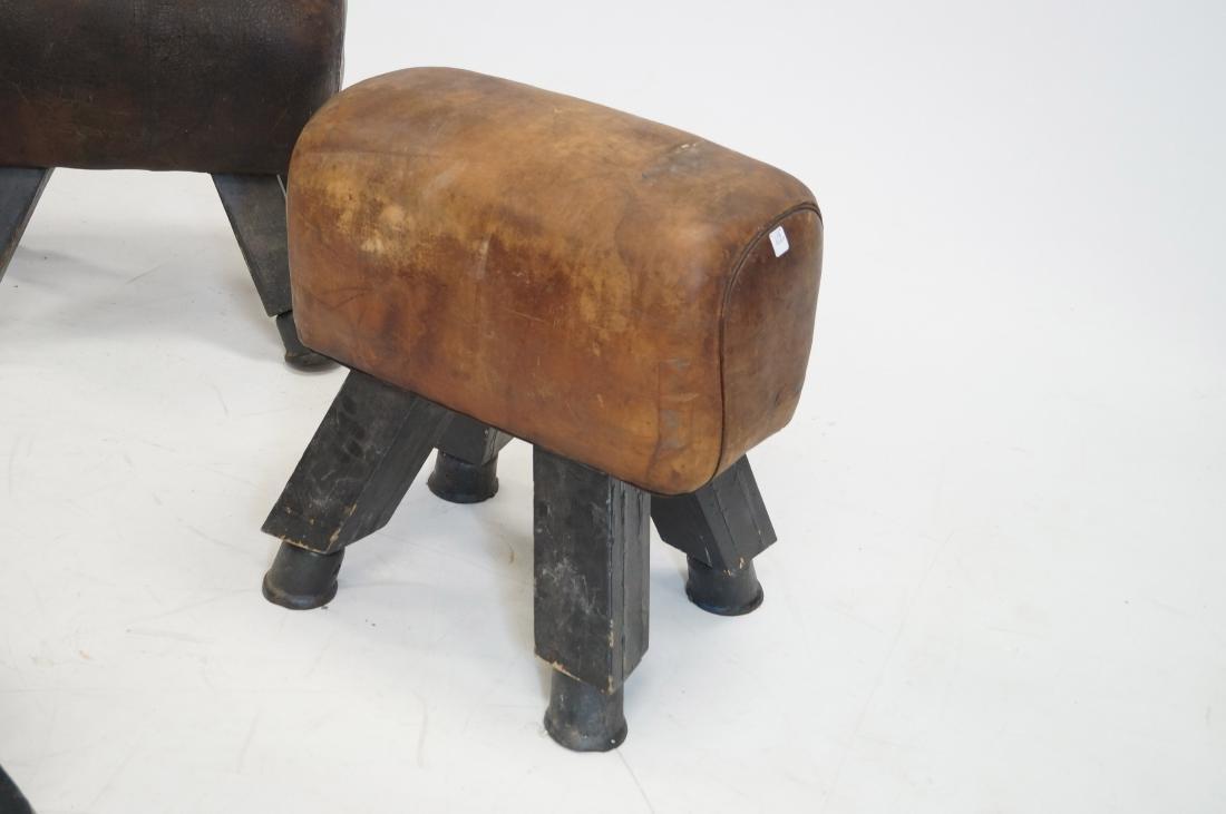 LOT (3) ANTIQUE LEATHER POMMEL HORSES, C.1900. HEIGHT - 2