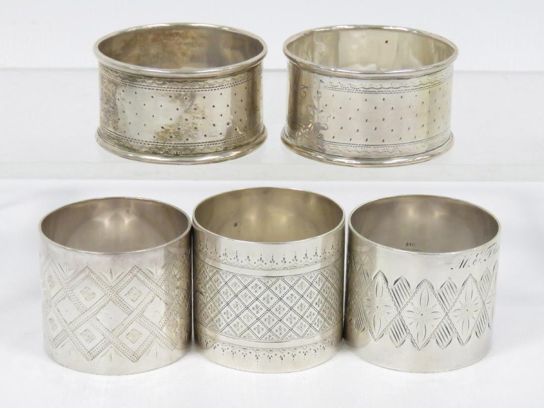 LOT (5) STERLING/SILVER NAPKIN RINGS. TWT 5.91 OZT - 2